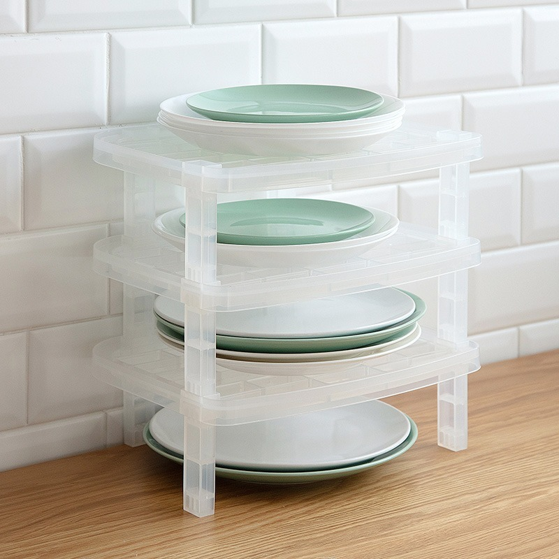 Single Layer Dish Plate Storage Organizer Transparent Antibacterial Vertical Rack Creative Kitchen Frame Space-Saving YHJ121712
