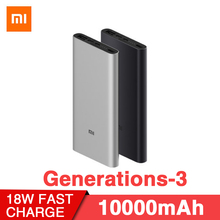Original Xiaomi Mi Power Bank 3 10000mAh USB-C Two-way Fast Quick Charge 18W Battery Travel Powerbank for iPhone XS PLM12ZM