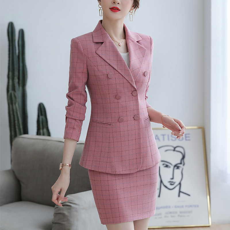 SUSIELADY Women's Blazer Skirtsuits Plaid Office Lady Suits Double Breasted with Waistband Work Blazer Suits