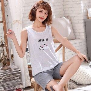 Image 5 - Plus Size M 4XL Paar Pyjama Set Zomer Vest Pyjama Katoen Vrouwen Nachtkleding Mannen Leuke Cartoon Pijamas