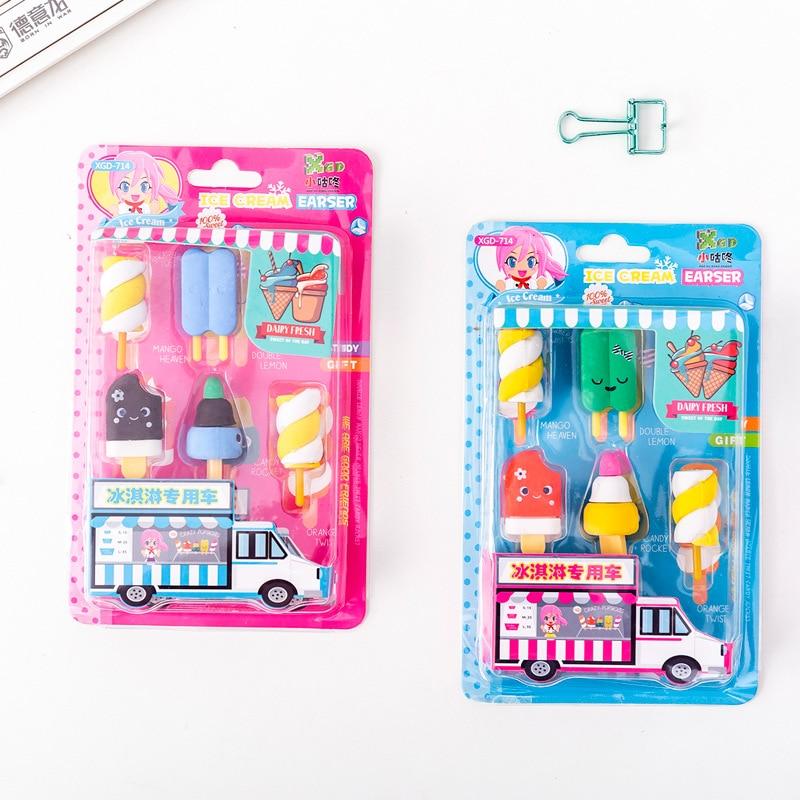8 Set/lot Creative Cute Ice Cream Food Blister-card Eraser / Rubber Eraser Suit / Student Eraser/toy Children Gift