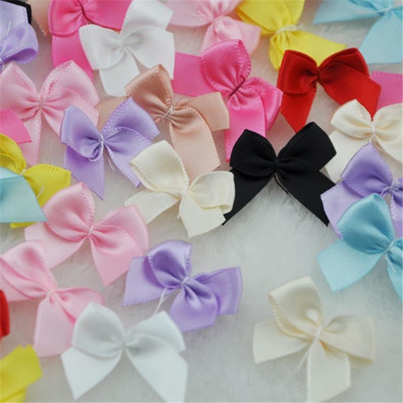 50pcs Mini Satin Ribbon Flowers Bows Gift Craft Wedding Decoration B176