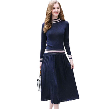Autumn knit tops sweater skirts Up and down Two-piece Vintage style Long-sleeved Pullover sweater and Skirt Autumn women's suit 1