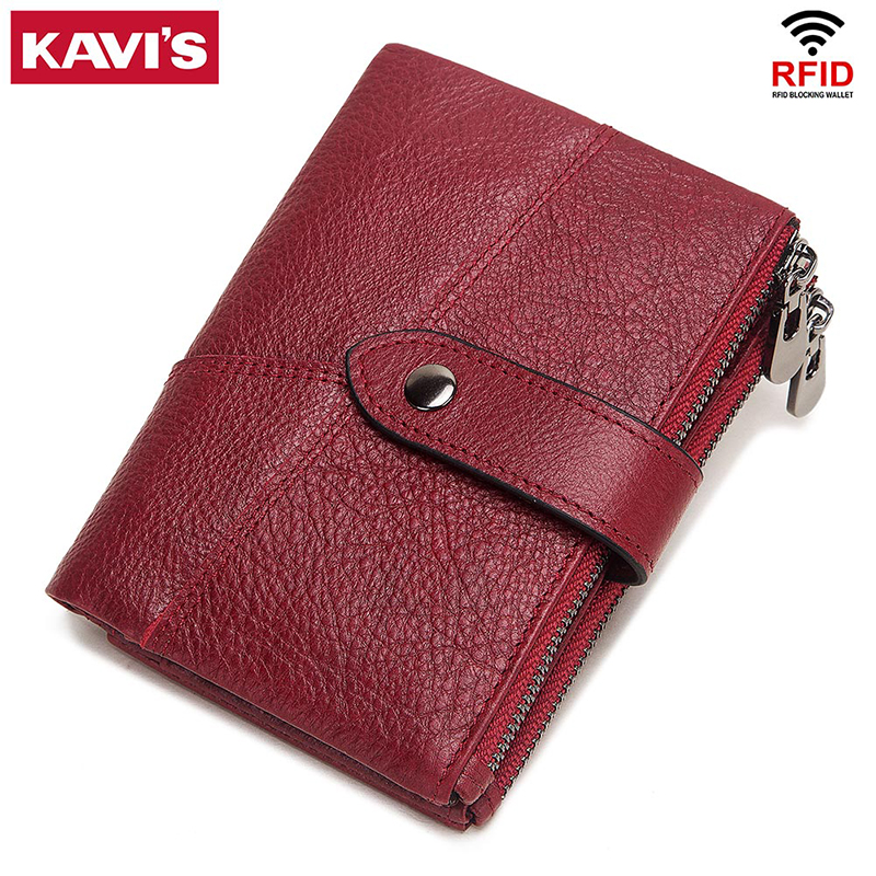 KAVIS Rfid Genuine Leather Women Wallet Female Coin Purs Portomonee Money Bag Small Card Holder Red Color Fashion For Girls