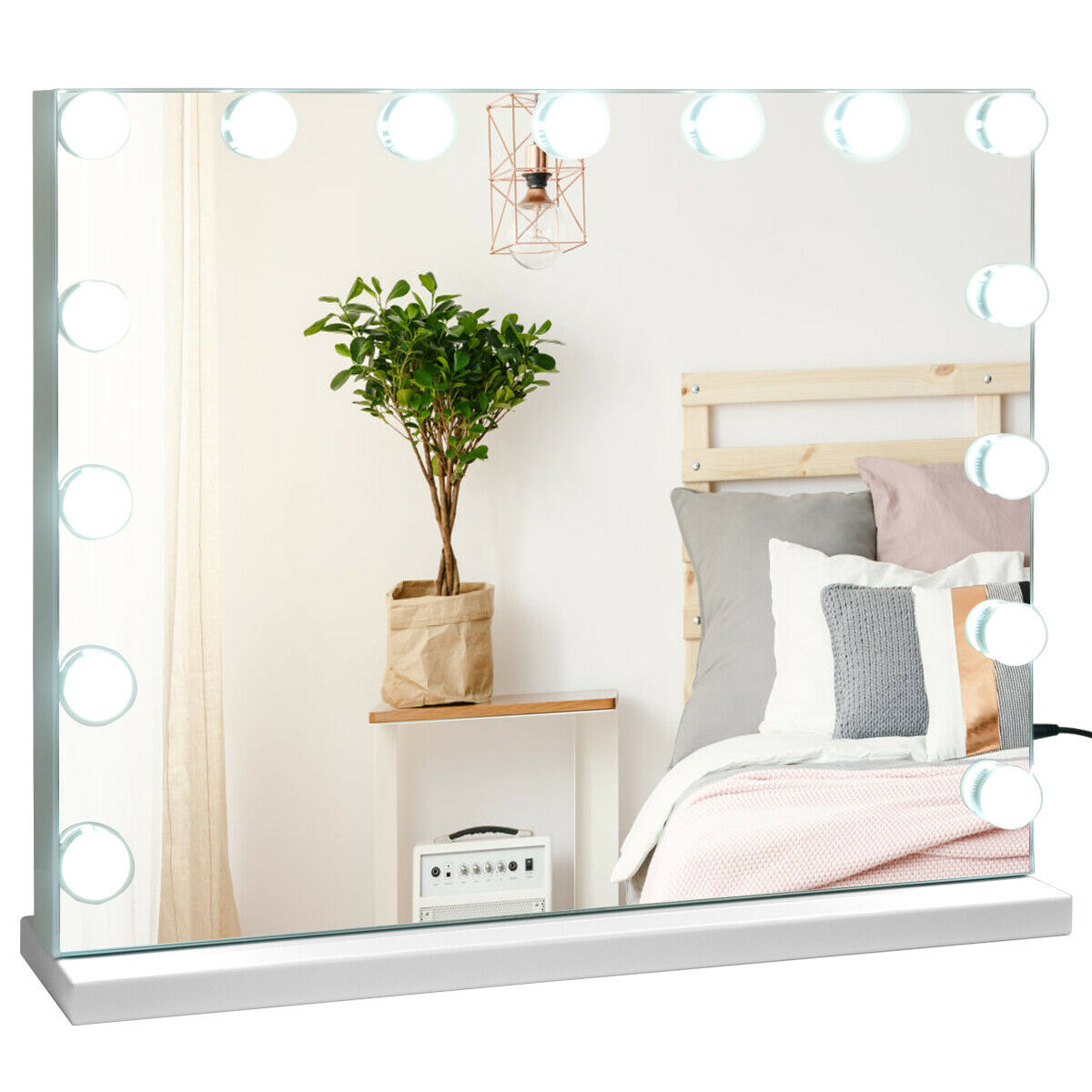 Vanity mirror with lights and Bluetooth speaker Hollywood Vanity Lighted Mirror Touch Control Magnification Bluetooth Speaker HB86948US