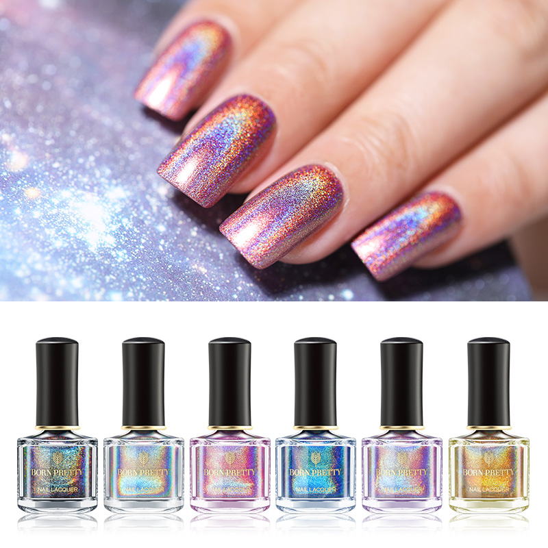 BORN PRETTY Holographic Laser Nail Polish Colorful Series 6ml Varnish Shining Glittering Nails 3-in-1 Water Based Top Coat