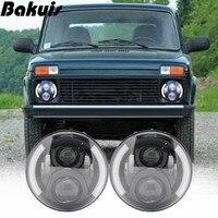 2X 7 Inch Round LED Headlights Projection Headlight Kit for Jeep Wrangler JK TJ LJ lada niva 4x4 suzuki samurai Hummer H1 H2