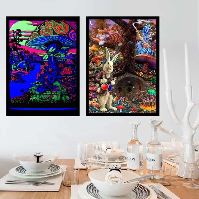 Psychedelic Trippy zihin görsel mantar eğitim sihirli siyah ışık ipek boyama duvar sanatı posterler ve baskı ev dekor