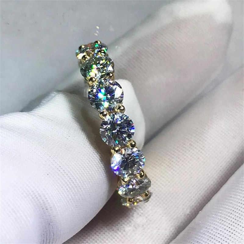 Eternity 18K Gold 4mm Diamant Ring 925 sterling silber Schmuck, Verlobung, Hochzeit band Ringe für Frauen Braut Partei zubehör