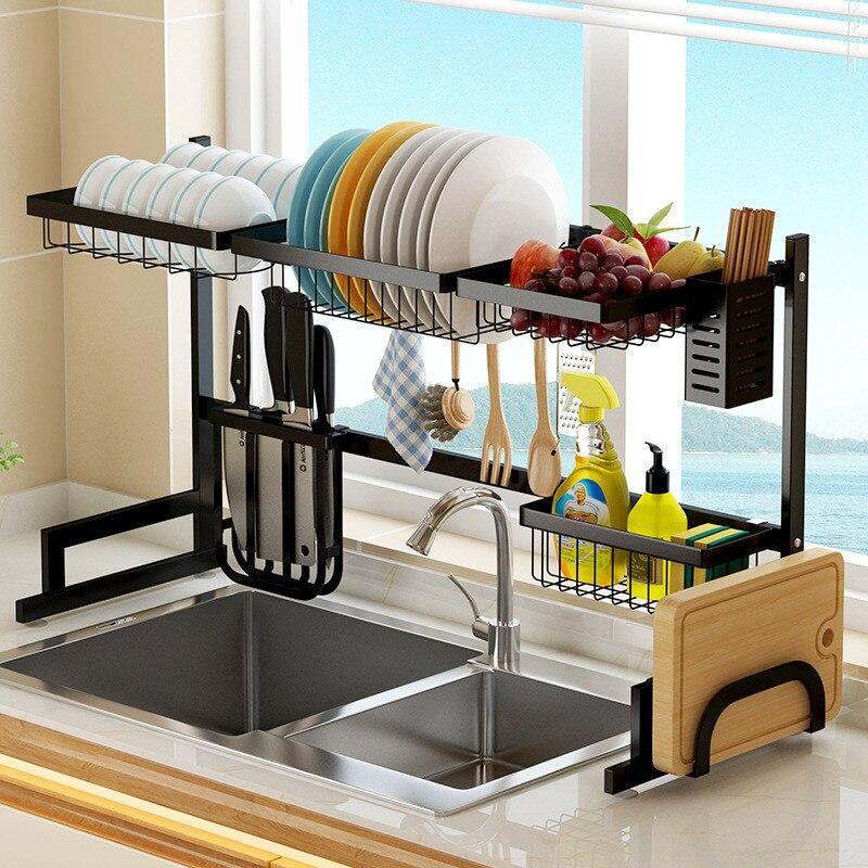 2 طبقات متعددة الاستخدام الفولاذ المقاوم للصدأ أطباق رف مصرف حوض المطبخ رف المطبخ Oragnizer رف طبق الجرف بالوعة تجفيف الرف الأسود