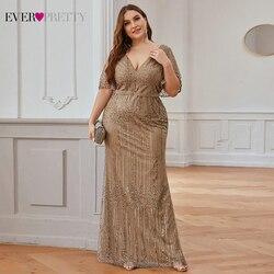 Платье для выпускного вечера Ever Pretty EP00838 Seuqined с оборками на рукавах и v-образным вырезом, элегантное платье русалки для вечеринки, размера пл...