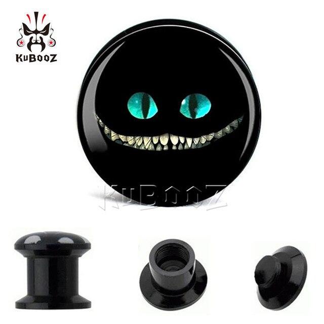 Kubooz модные акриловые затычки для ушей с злой кошкой тоннели