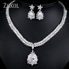 ZAKOL Luxury High Quality Cubic Zirconia Droplets Bridal Jewelry Earrings Necklace Set for Women Wedding Dinner Party FSSP002(China)