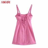 Tangada Summer Women Solid Pink Backless Mini Dress Strap Adjust Sleeveless 2021 Fashion Lady Sundress 3H375 5