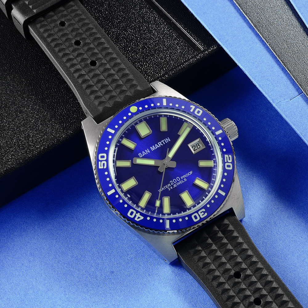 San Martin 62Mas Diver Automatic Mechanical Men Watch NH35 Stainless Steel Ceramic Bezel Sunray Dial Rubber Calendar Luminous - 4