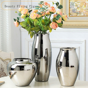 Home living room TV cabinet wine cabinet decoration ornaments simple fashion soft work art ceramic gold-plated silver vase