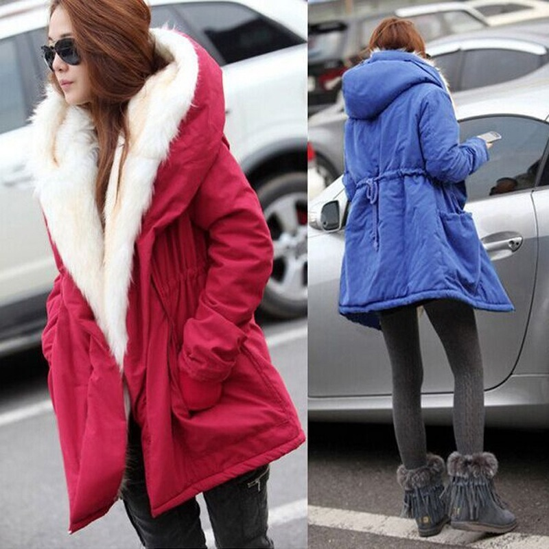 Solid color fur   parkas   mujer,cotton padded hooded jacket winter coat women,casual   parka   femme,arm female winter jacket -85