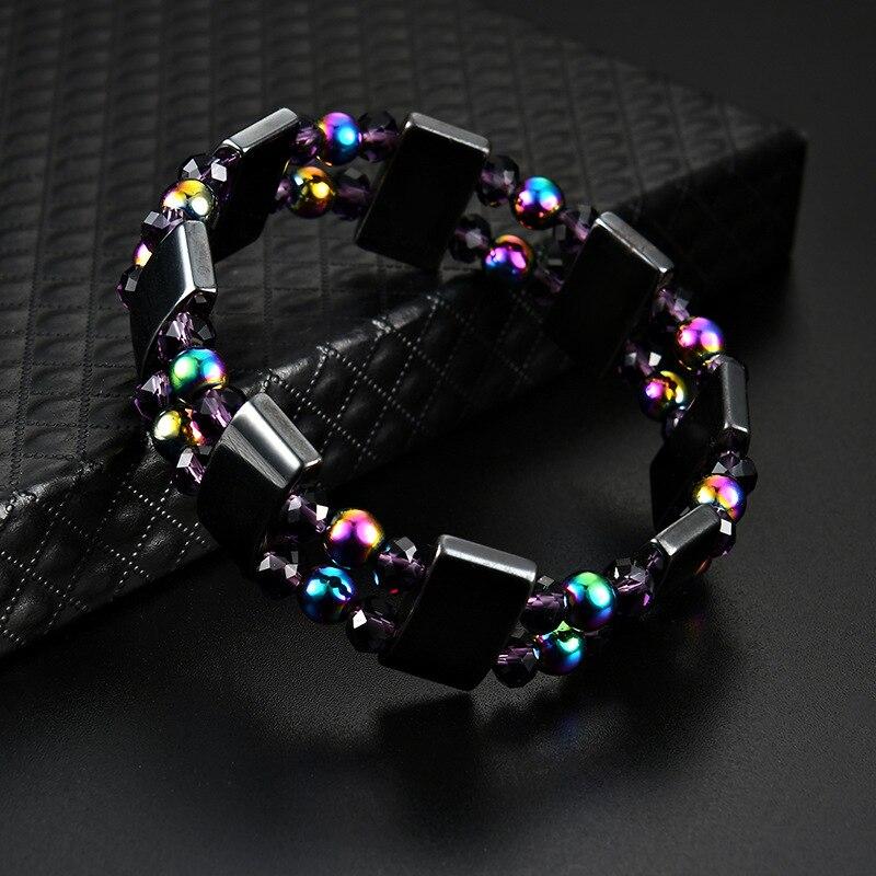 NJ Double Layer Natural Black Magnet Stone Beaded Bracelet Man Woman Anti-fatigue Lodestone Accessories Jewelry