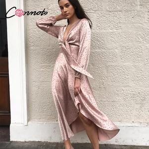 Image 1 - Conmoto femmes 2019 automne hiver robe rose à pois nœud Satin longue robe élégante lanterne à manches longues Maxi robe de soirée Vestidos