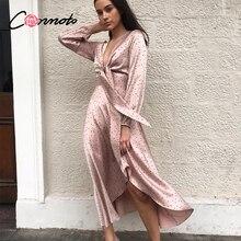 Conmoto kadınlar 2019 sonbahar kış elbise pembe Polka Dot yay saten uzun elbise zarif fener uzun kollu Maxi parti elbise Vestidos