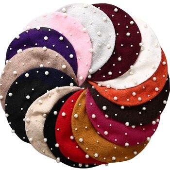 SAFENH Fashion Winter Pearl Diamond Decoration Knit Beret Ladies Wool Warm Flat Pumpkin hat Bead Bon