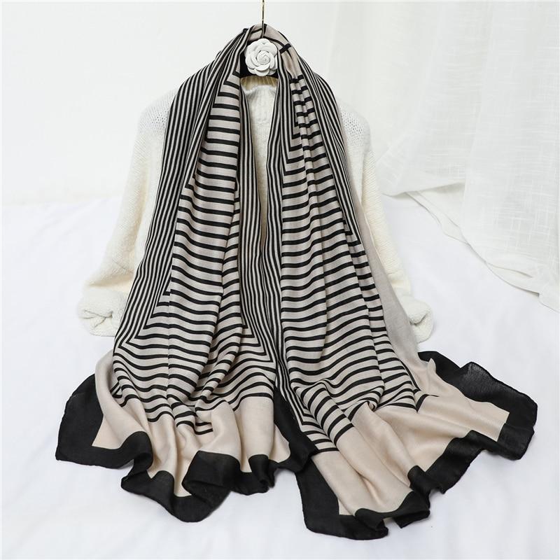 Women Cotton Scarf Fashion Striped Print Foulard Hijab Pashmina Shawls Lady Wraps Travel Scarves Female Bufanda