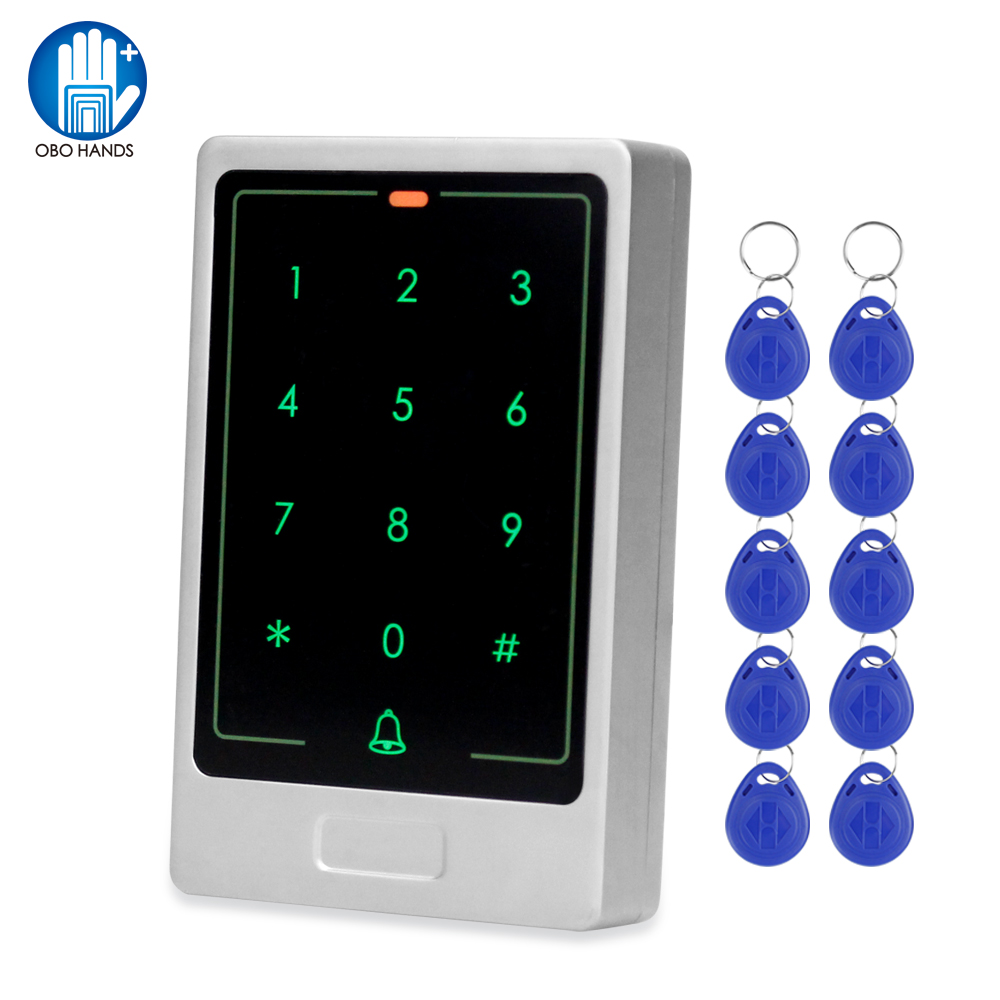 125KHz RFID Access Control Keypad Touch Metal Standalone RFID Keyboard For Door Lock Access Control System+10 EM Keyfobs Cards