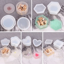 DIY Hexagonal Storage Box Epoxy Mould Crystal Resin Mold Table Decoration Plum Blossom Square Round Silicone Holder Pottery