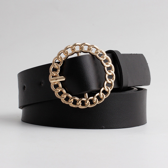 2020 New Designer Women's Hollow Out O Ring Round Buckle Belt Female Adjustable Black White Brown Leather Waist Belts for Women 1