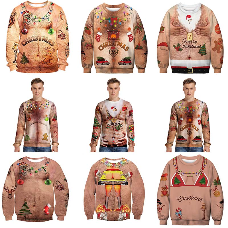 New Listing Ugly Christmas Sweaters Stylish Unisex Men Women Santa  Funny Christmas Sweater Novelty Sexy Chest Hair Sweater