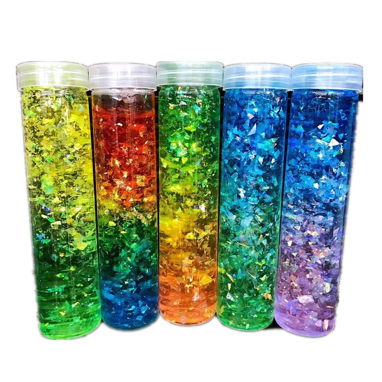1pc Creative Fashion Rainbow Starry Sequins Colorful Pudding Crystal Mud Slime Pearl Clay Handmade Toys For Kids