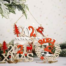 2021 Deer Letters New Year Christmas Wooden Hanging Ornament Pendant Party Decor Christmas Doll Kids Gift Christmas Pendant Xmas(China)