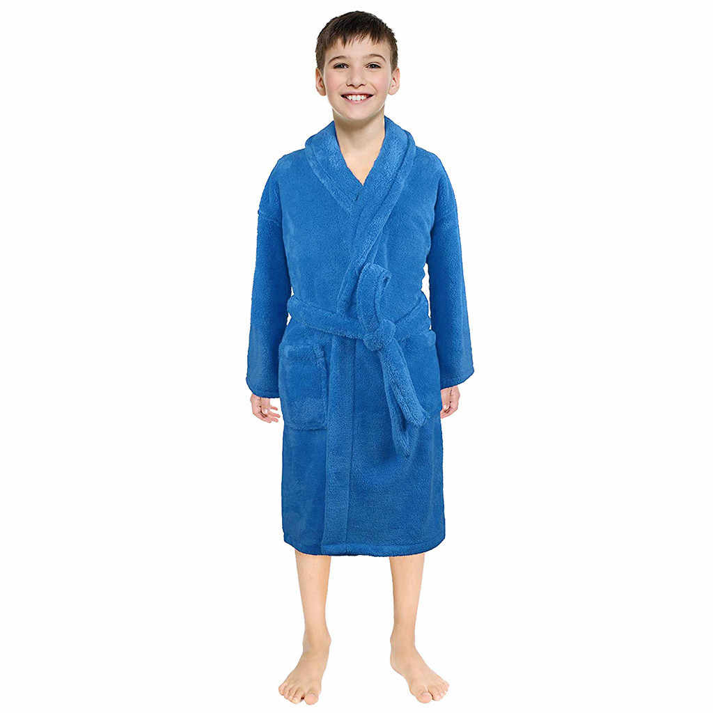 bathrobe Baby Sleepwear Clothes Toddler Boys Girls Solid Flannel Bathrobes Towel Night-Gown Pajamas Sleepwear Kids Clothing 2019