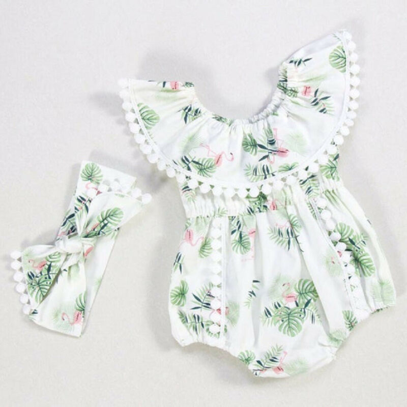 USStock Baby Girl Romper Dress Tutu Skirt Infant Bodysuit Sunsuit Clothes Outfit