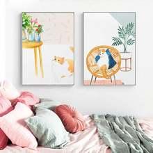 Индивидуальная Минималистичная Милая кошачья картина на стену