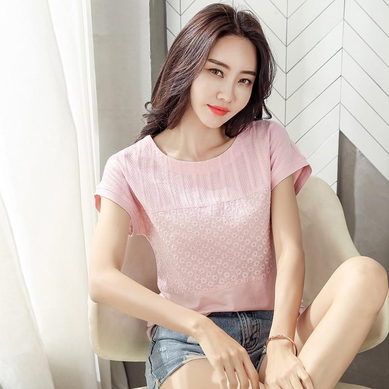 Корейская модная одежда Blusas Mujer De Moda 2020, хлопковые топы, летняя блузка большого размера, Повседневная розовая элегантная одежда 8619 50