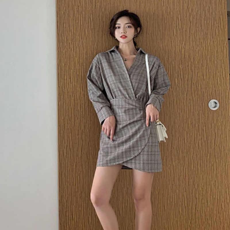 SuperAen клетчатая модная Женская Осенняя Новинка 2019 хлопок нестандартная рубашка платье женский длинный рукав корейский стиль Женская одежда