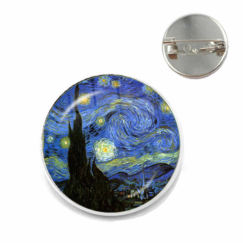 Fashion Van Gogh Art Starry Night Zonnebloem Broches 20mm Glas Cabochon Dome Schooltas Zilveren Broche Pins Badge Voor vrouwen Mannen
