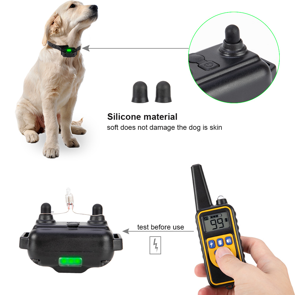 800m Electric Dog Training Collar Pet Remote Control Waterproof Rechargeable with LCD Display for All Size Shock Vibration Sound 4