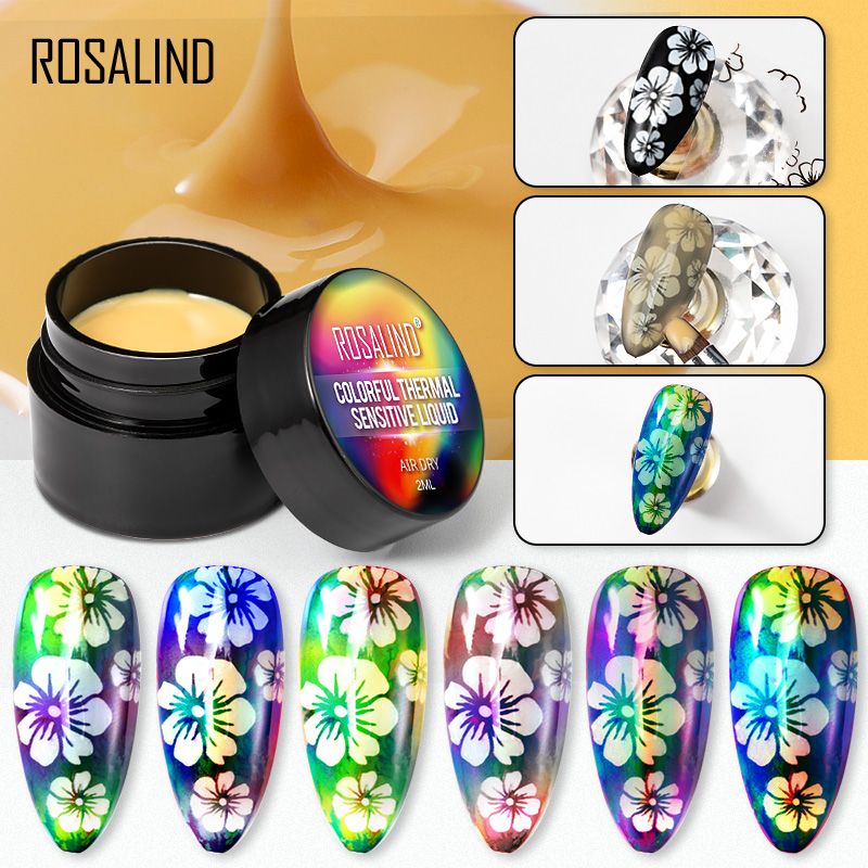ROSALIND Thermal Sensitive Gel Polish Hybrid Varnish For Nails Manicure UV Gel Lacquer Air Dry Temperature Change 2ml Nail Gel
