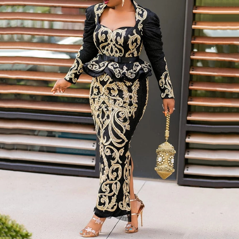 Vintage Black Floral Printed Long Evening Party Dress Long Sleeve 2020 Elegant Plus Size Bodycon Maxi Peplum Ruffles Dress Retro