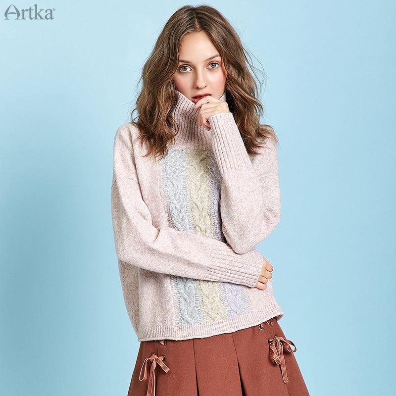 ARTKA 2019 Winter New Women Sweater Elegant Turtleneck Long Sleeve Sweaters Thick Warm Loose Pullover Sweater For Women YB10693D