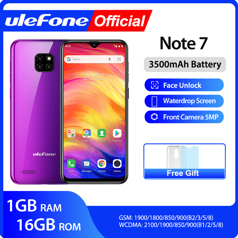 Ulefone Note 7 Smartphone 3500mAh 19:9 Quad Core 6.1inch Waterdrop Screen 16GB ROM Mobile phone WCDMA Cellphone Android9.0(China)