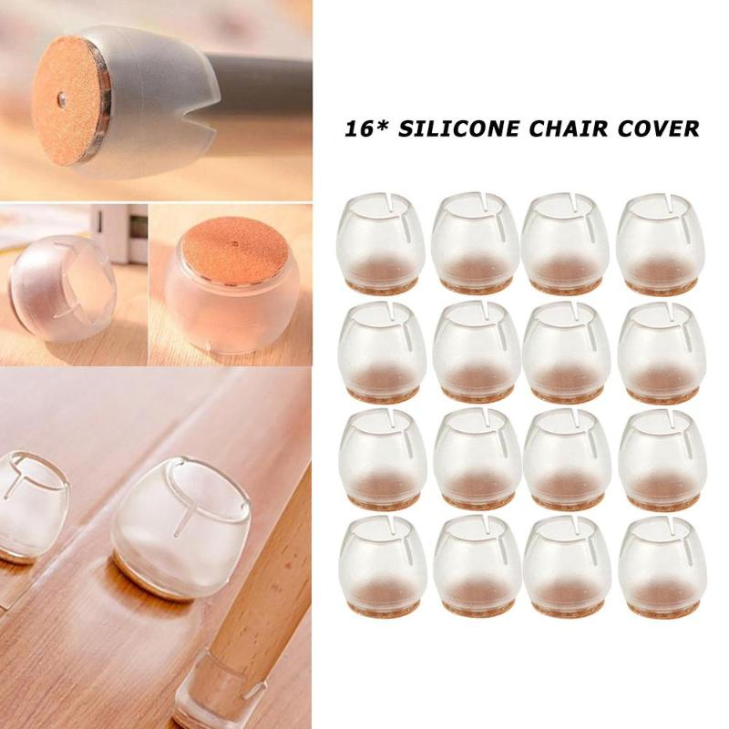 16pcs Durable Non-Slip Chair Leg Protective Case Cap Pad Silicone Table Mat Floor Protectors Round Bottom Diameter 20mm