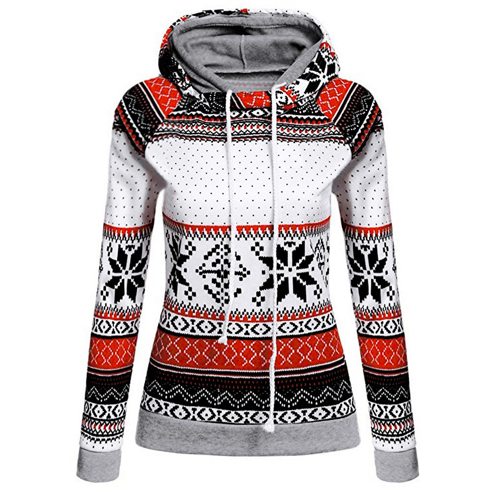 Womens Christmas Printed Hoodies Sweatshirt Xmas Ladies Tops Jumper Pullover Manteau Femme Hiver Capuche Femme