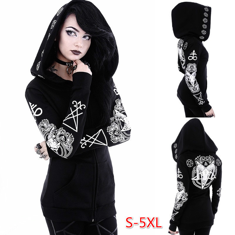 Gothic Cavel Printed 2020 New Design Hot Sale Hoodies Sweatshirts Women Casual Kawaii Harajuku Sweat Girls European Tops Korean
