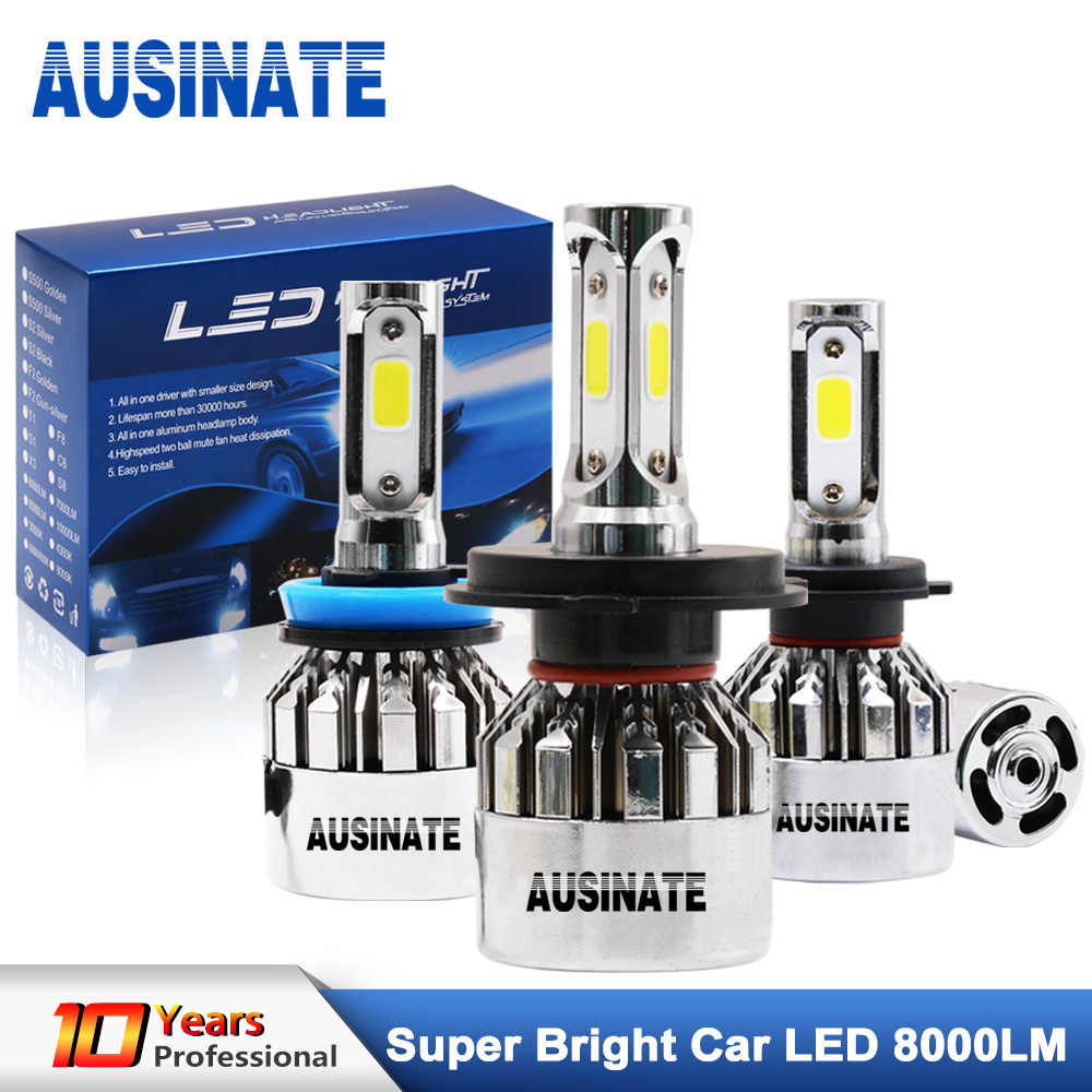LED H4 H7 H1 H11 H3 H8 H9 9005 HB3 9006 HB4 881 Bulb Silver Chrome Fog Light 6500K 72W 8000Lm LED Headlight Lamps Bulbs For Car