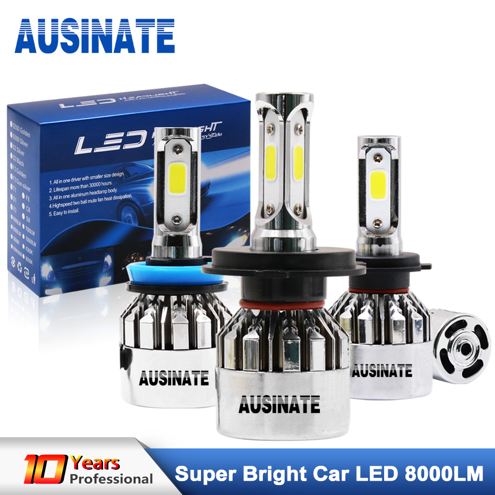 LED H4 H7 H1 H11 H3 H8 H9 9005 HB3 9006 HB4 881 Bulb Silver Chrome Fog Light 6500K 72W 8000Lm LED Headlight Lamps Bulbs For Car image