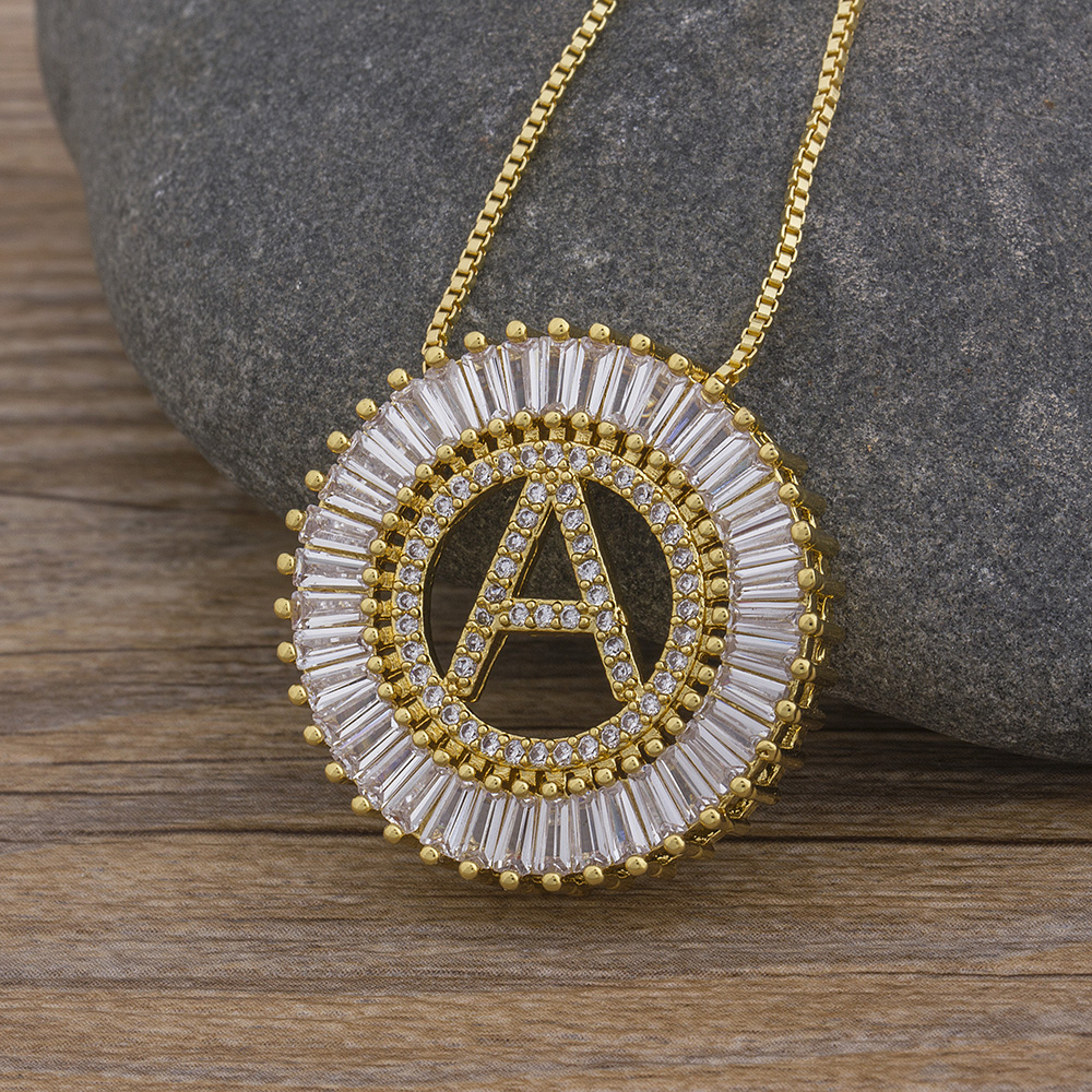 Hot Sale A-Z Initials 3 Colors Chooses Micro Pave CZ Letter Pendant Necklaces For Women Charm Chain Family Jewelry Gift 2