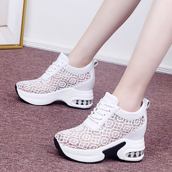 Rimocy Summer Breathable Mesh Chunky Platform Sneakers Women Lace Floral Hollow Out White Shoes Woman Hidden